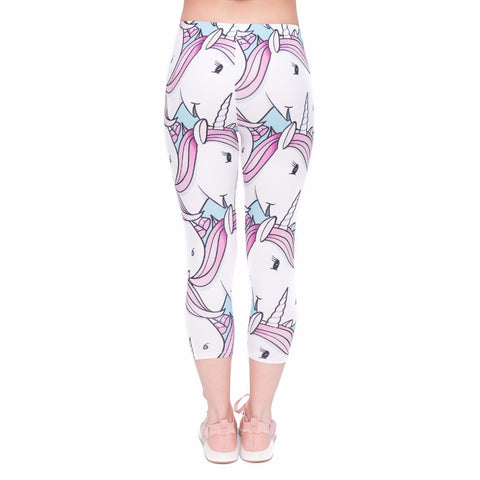 Back of White Mid-Calf Unicorn Leggings