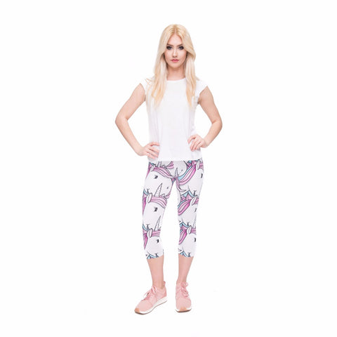 Mid-Calf Cartoon Unicorn Leggings Model