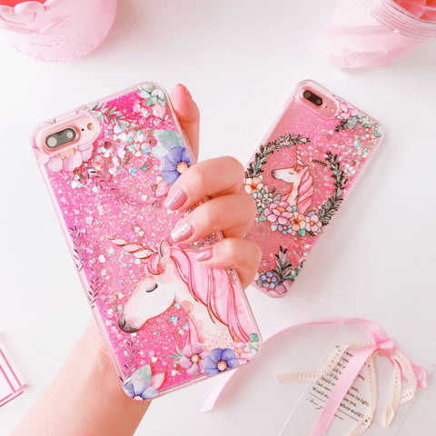 iPhone Flower Unicorn Glitter Phone Case (6-7)