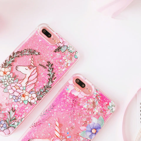 Flower Unicorn iPhone Glitter Phone Cover
