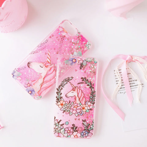 Flower Unicorn iPhone Glitter Phone Case