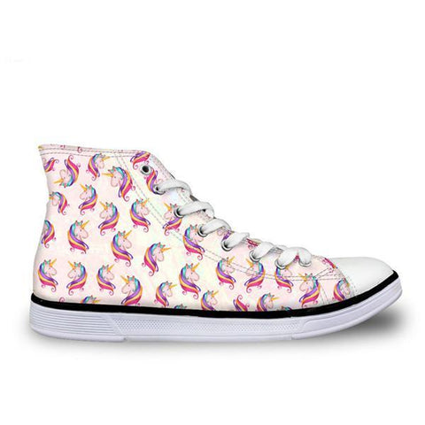 Womens Classic High Top Canvas Unicorn Shoes (Patterned)