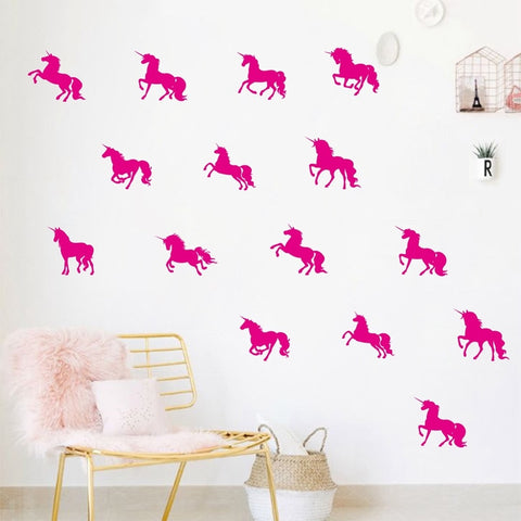 16pc Unicorn Silhouette Wall Decal Stickers