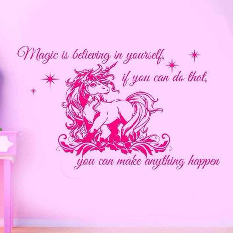 "Large ""Magic is Believing in Yourself"" Unicorn Wall Sticker"