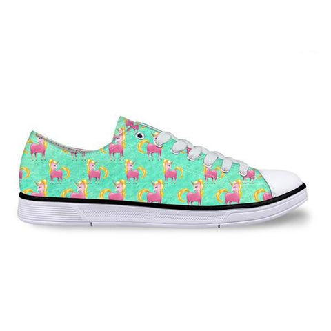 Green Canvas Unicorn Low Top