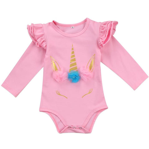 Baby Girls Long Sleeve Unicorn Crown Onesie Bodysuit