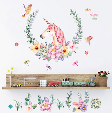 Pretty Floral Unicorn Wall Decal Stickers