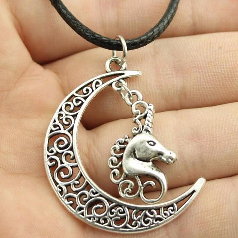 Crescent Moon Unicorn Leather Necklace