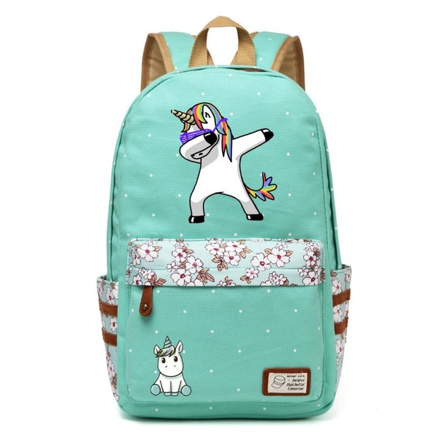 Dabbing Unicorn Backpack w/ Flowers