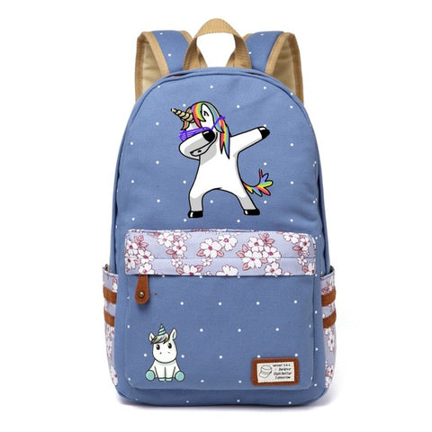 Dabbing Unicorn Canvas Backpack w/ Flowers