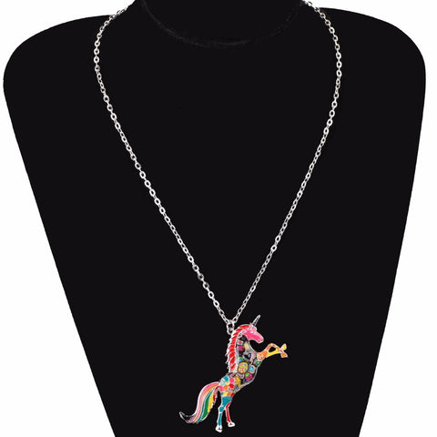 Enamel Kaleidoscopic Unicorn Necklace