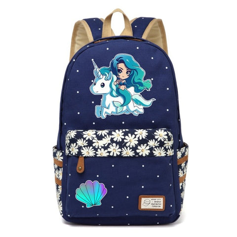 Navy Unicorn + Mermaid Backpack