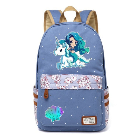 Unicorn + Mermaid Canvas Backpack
