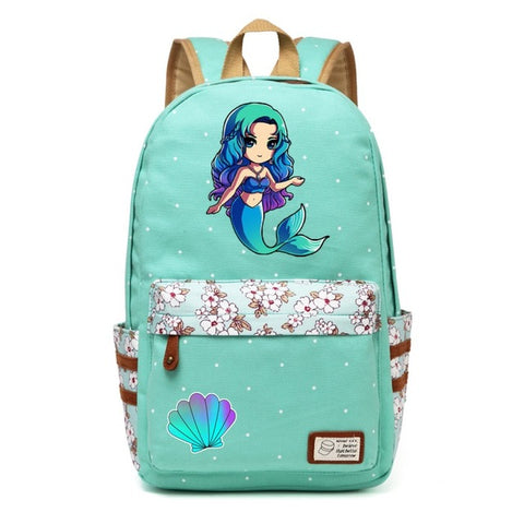 Teal Mermaid Backpack Style 1