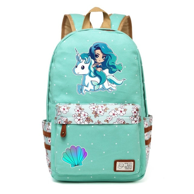 Teal Unicorn + Mermaid Backpack
