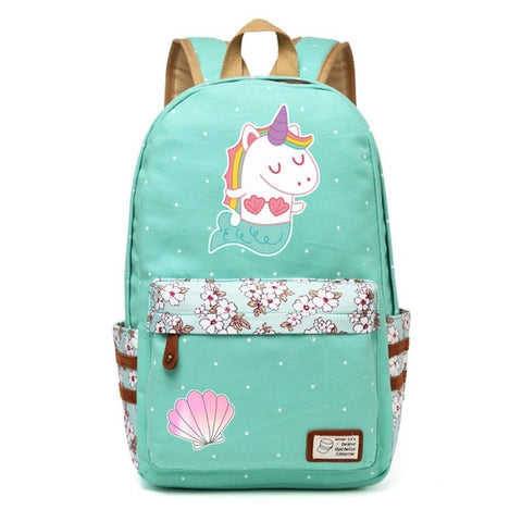 Mermicorn Canvas Unicorn Backpack