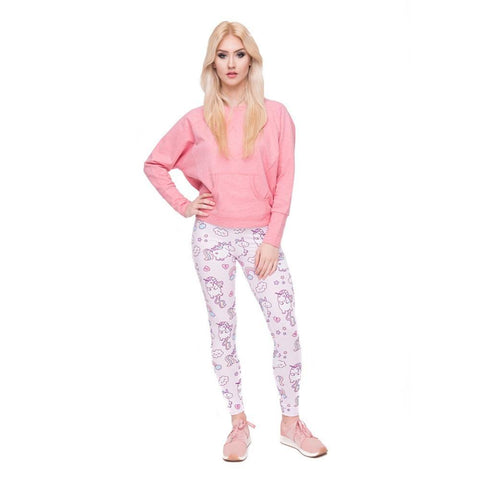 Pink Floating Unicorn Leggings Model