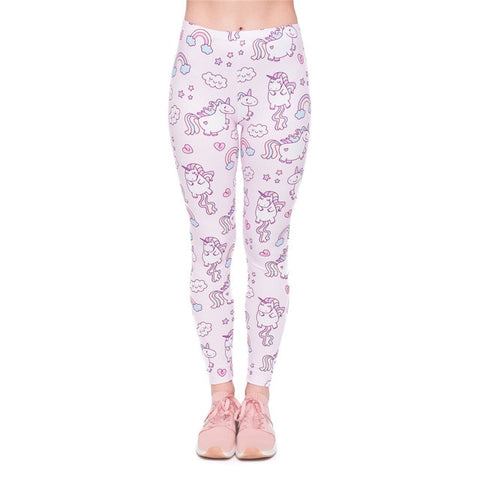 Women's Pink Floating Unicorn Pattern Leggings