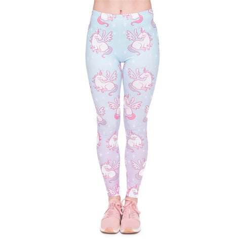 Women's Blue Gradient Winged Unicorn Leggings