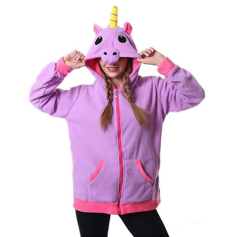 Plush Fleece Unicorn Zipper Hoodie