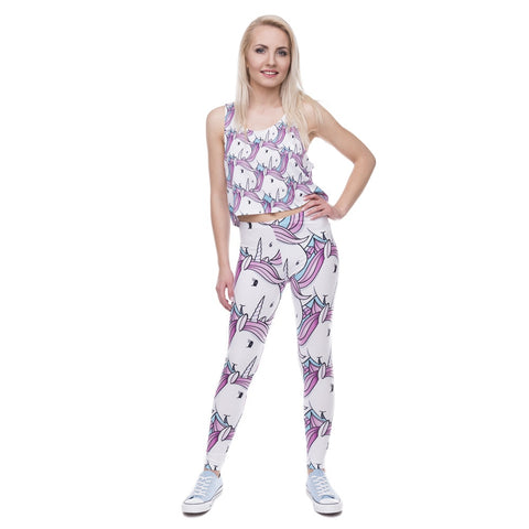 White Cartoon Unicorn Leggings Model