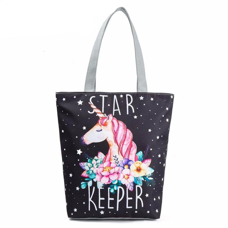 Unicorn Star Keeper Canvas Beach Tote Bag
