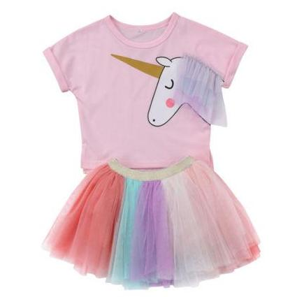 Girls 2-Piece Rainbow Unicorn Tutu Summer Dress