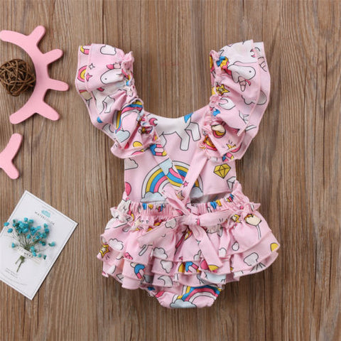 Back of Girls Ruffled Unicorn Romper
