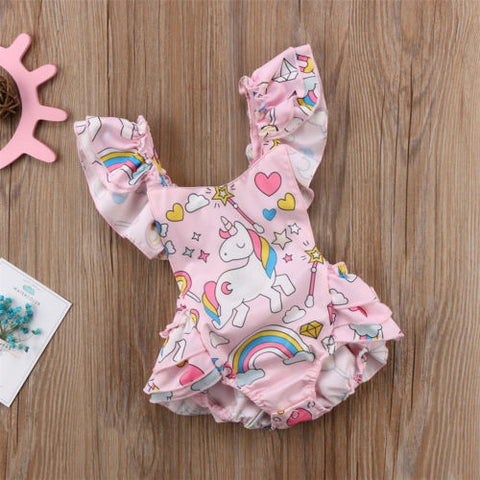 Ruffled Unicorn Baby Romper