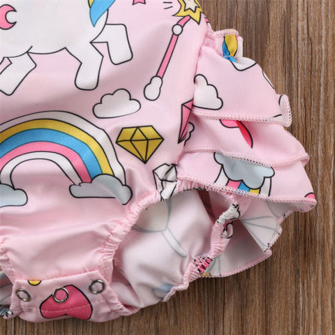 Ruffled Unicorn Baby Romper Bottoms