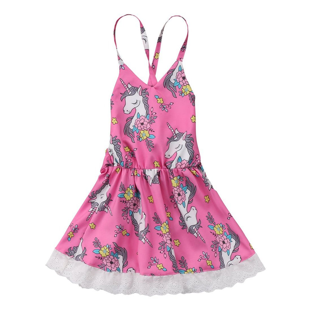 Baby Girls Sleeveless Pink Unicorn Party Dress