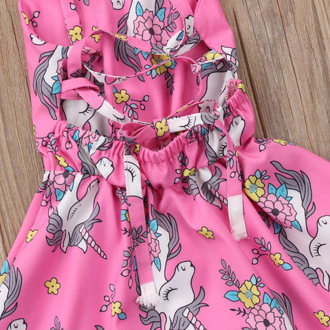 Pink Unicorn Party Dress Straps