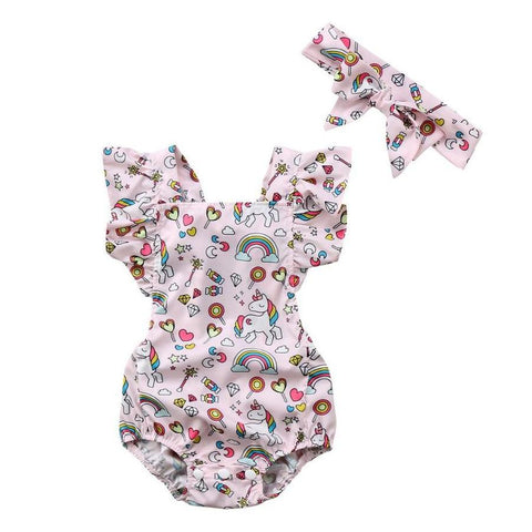 Baby Girls Backless Ruffled Unicorn Romper