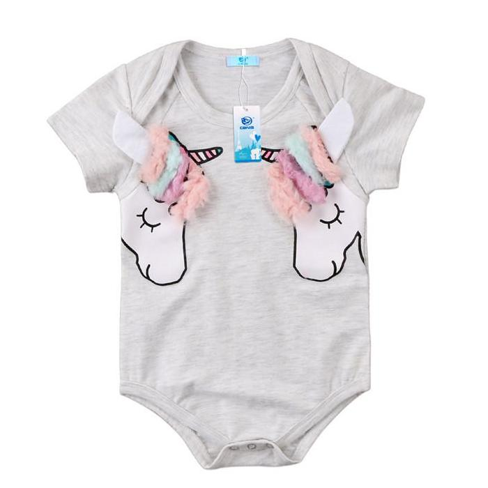 Baby Girl's Double Unicorn Onesie Bodysuit