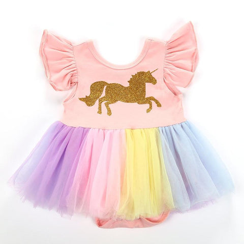 Baby Girls Rainbow Unicorn Tutu Romper Dress
