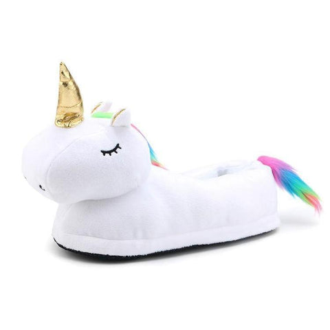 White Plush Unicorn Dream Slippers