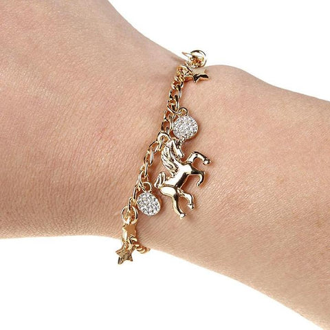 Gold Unicorn Charm Bracelet