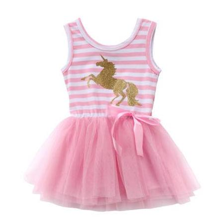 Girls Sleeveless Pink Striped Unicorn Tutu Dress
