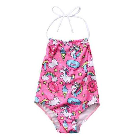Girls Pink Unicorn Print Halter Swimsuit