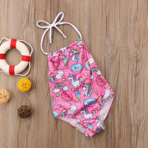 Pink Unicorn Print Girls Swimsuit