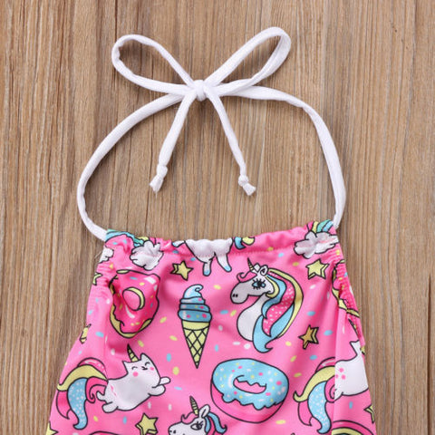 Girls Unicorn Swimsuit Halter Top