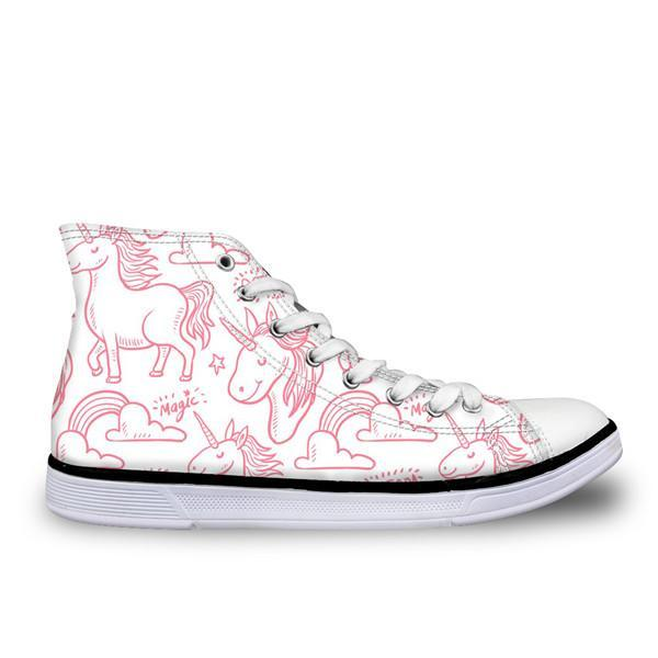 White / Pink Canvas Unicorn Shoe
