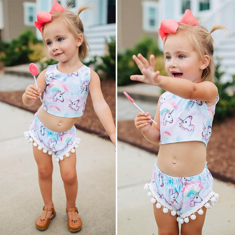 Girls Unicorn Crop Top Outfit