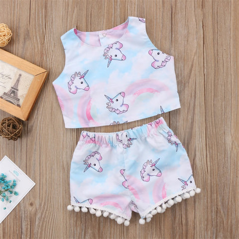 Girls Sleeveless Unicorn Crop Top and Shorts