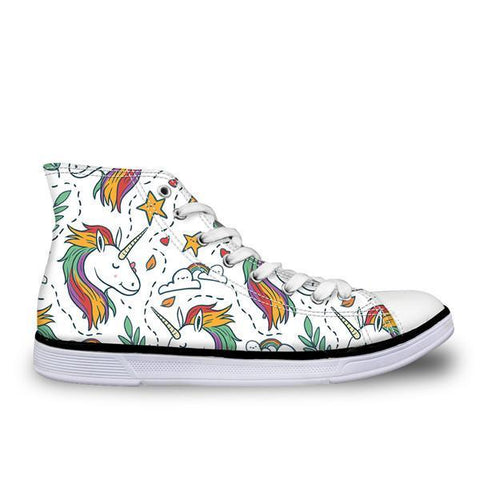 Womens Classic High Top Canvas Unicorn Shoes (Graphic)