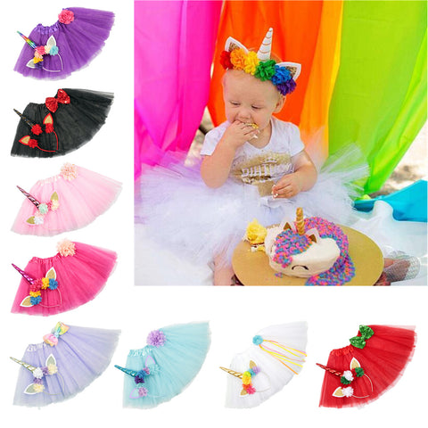 Baby Girls Unicorn Headband & Tutu Set
