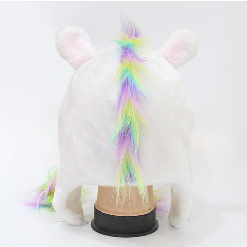 Plush Fleece Rainbow Unicorn Winter Bomber Hat