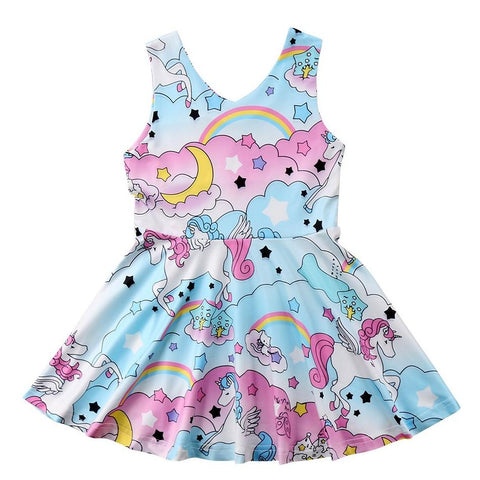 Girls Sleeveless Cartoon Unicorn Dress