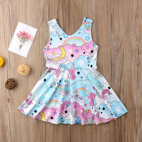 Sleeveless Unicorn Party Dress Back