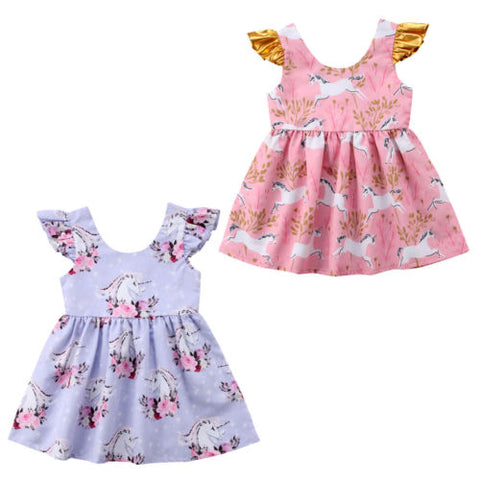Girls Unicorn Summer Party Dress w/ Fly Sleeve